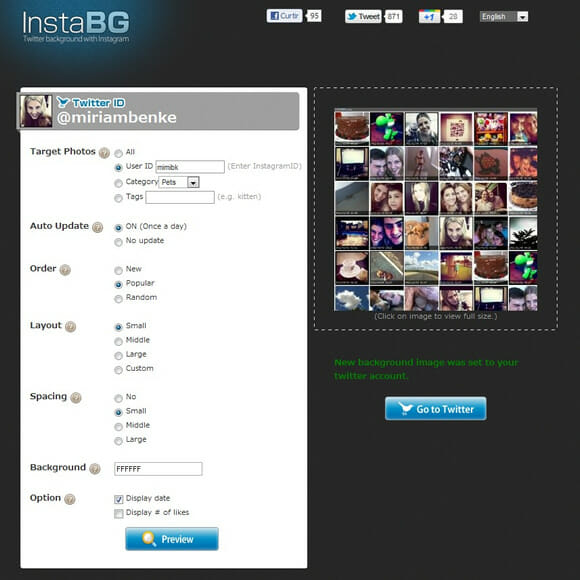 Personalize o background de seu Twitter com imagens do Instagram usando o InstaBG