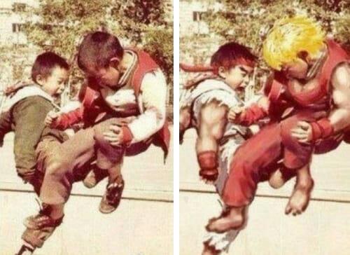 Ken e Ryu quando eram crianças