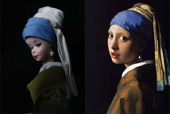 Artista recria obras de arte famosas tendo Barbie como personagem principal