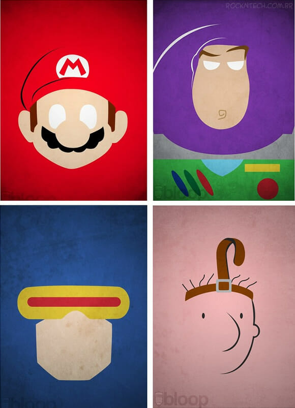 Posters minimalistas de personagens de filmes, desenhos e games