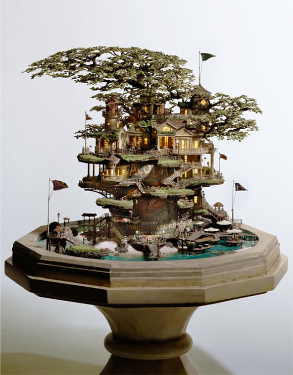 mini jardim oriental:Casas na árvore em miniatura feitas em bonsais