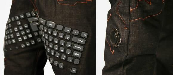 Designers criam calça jeans com teclado, mouse e speakers embutidos
