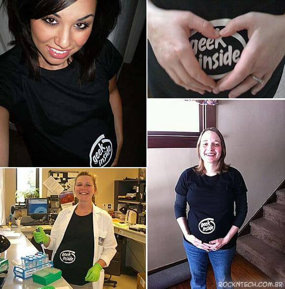 """Camiseta """"Geek Inside"""" para mulheres grávidas de geeks de nascença"""