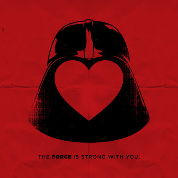 Declaração de amor geek com cartões de Darth Vader e Magneto