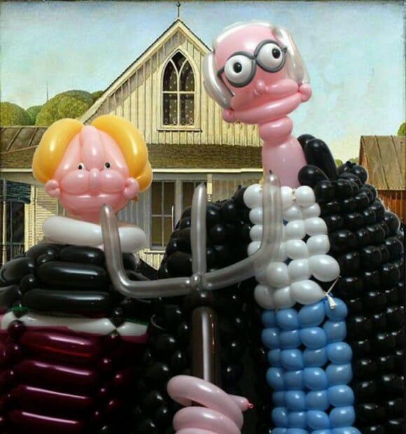 Obras de arte famosas recriadas com balões