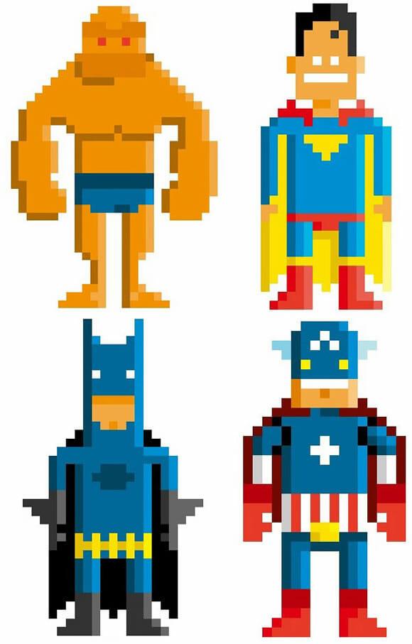 Personagens famosos dos quadrinhos ganham versão 8-bits