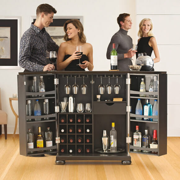 Mini bar móvel expansível para casas ou apartamentos pequenos