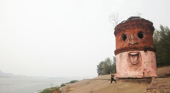 Arte de rua: Os curiosos rostos feitos em construções