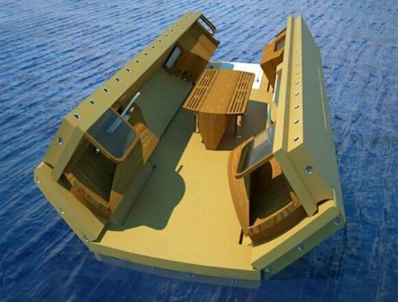 Uma ilha particular flutuante e portátil para as piscinas dos Iates dos bilionários!