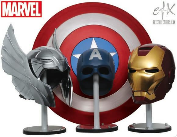 """Replicas dos capacetes de Thor, Capitão America e Homem de Ferro do filme """"Os Vingadores"""""""