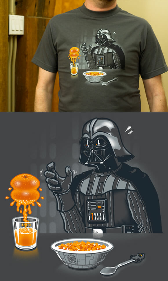 Camiseta geek AWESOME do dia: Imperial Breakfast com Darth Vader