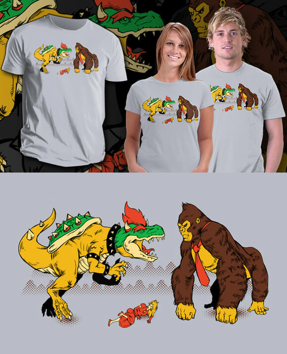 Estampa de camiseta geek SHOW do dia: Donkey Kong vs. Bowser