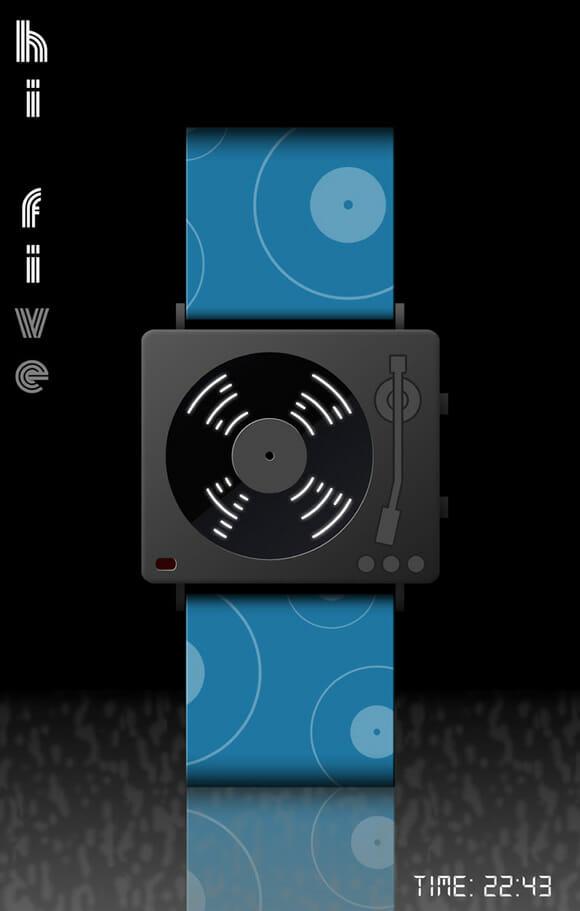 Relógio de pulso parece um toca-discos mas toca MP3!
