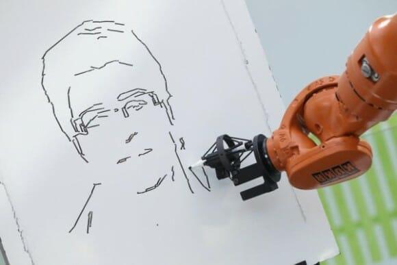 Robô artista desenha caricaturas em 3 minutos
