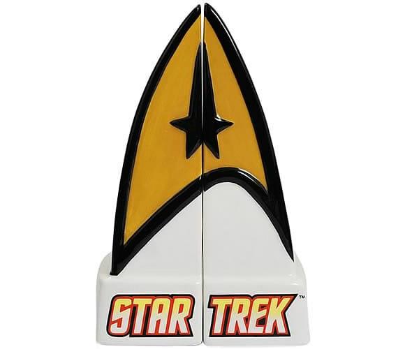 Saleiro e pimenteiro do Star Trek em forma da insignia da Frota Estelar
