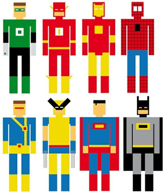 """Super-heróis """"geométricos"""" parecem personagens de jogos do Atari"""
