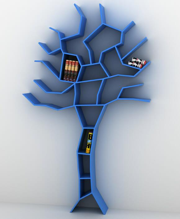 Estante magnífica em forma de árvore é praticamente um item de decoração