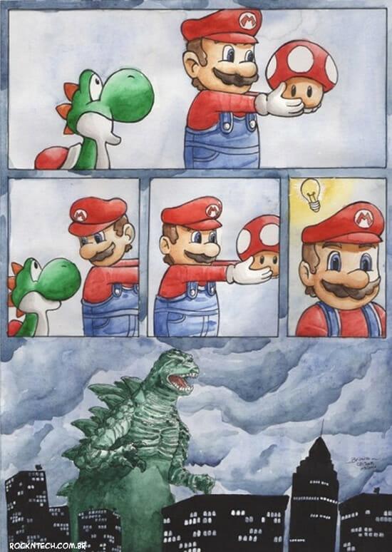 Super Mario em: Compartilhar o lanche com os amigos nem sempre é uma boa ideia