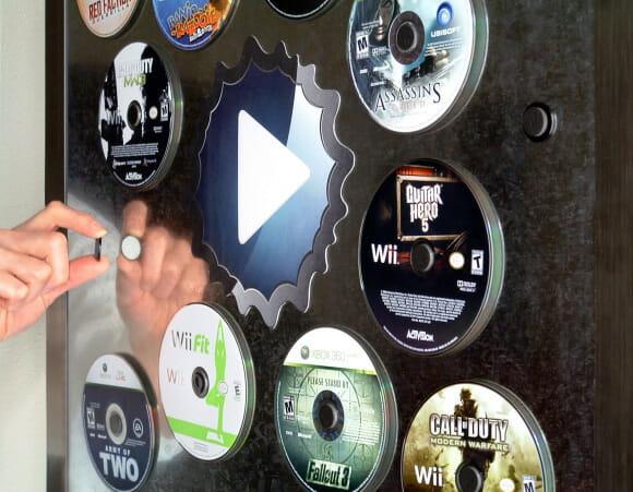 Suporte criativo para decorar seu quarto com seus DVDs do Xbox, PS3 ou Wii