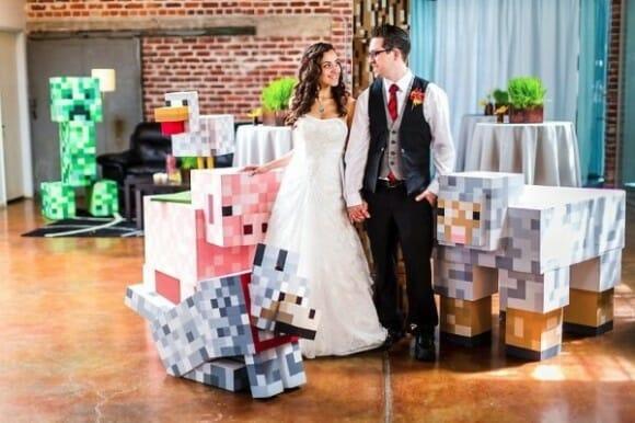 Noivos se casam em uma cerimônia com o tema Minecraft (vídeo)