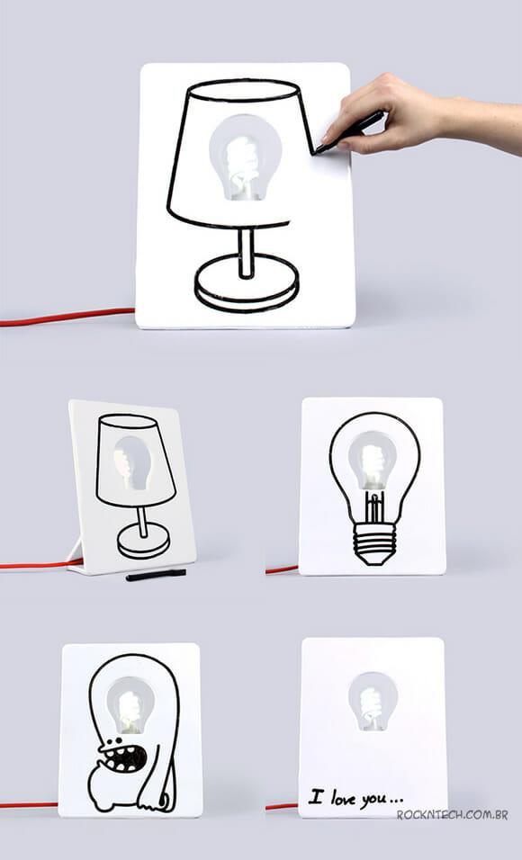 Abajur Drawlamp permite que você mesmo o desenhe como quiser