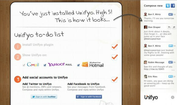 """Unifyo"" coloca o Facebook e Twitter dentro do Gmail, Hotmail e Yahoo!"