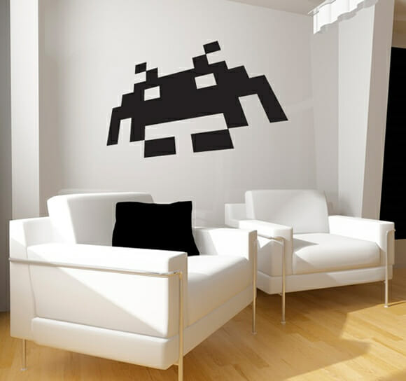Adesivo gigante de parede dos Space Invaders para decorar a casa dos geeks