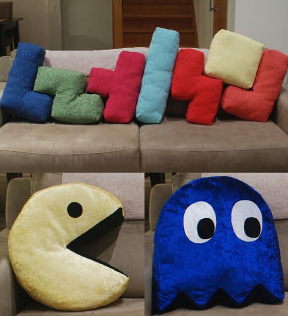 Almofadas retrô do Pac-Man, Tetris e até de disquetes