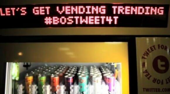 Máquina de bebidas oferece bebidas grátis quando alguém tuíta uma determinada hashtag