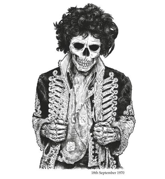 Dead Famous - Ilustrações de caveiras de famosos falecidos