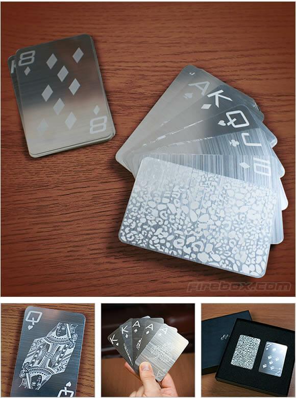 Cartas de baralho de aço inox