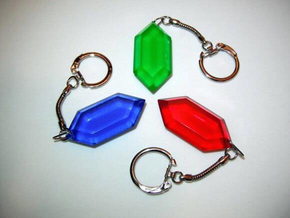 Kit de chaveiros em forma de Rupees do game The Legend of Zelda