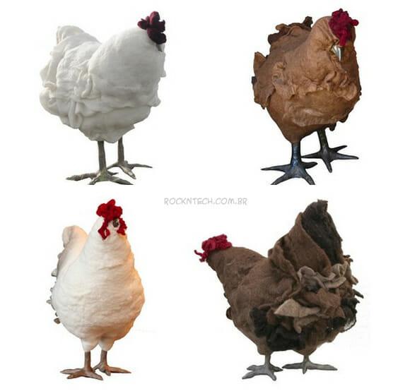 Decoração bizarra: Descanse seus pés em uma galinha!