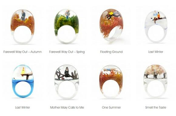 Os fantásticos anéis de vidro recheados com miniaturas de pessoas!