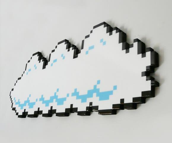 Nuvem Super Mario decora a parede do quarto com aspecto 8-bits