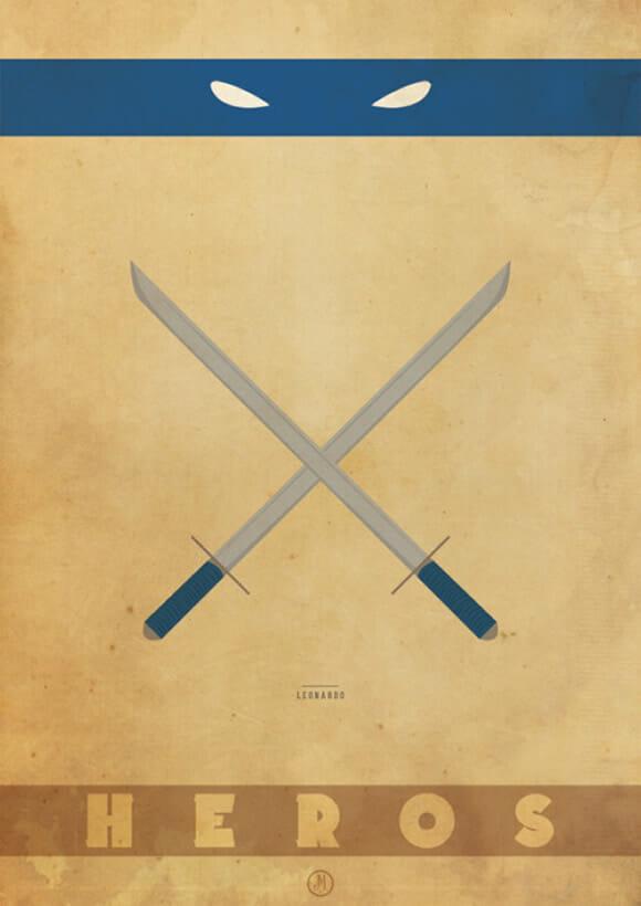 Posters minimalistas das Tartarugas Ninjas