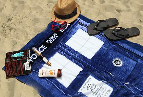 Toalha de praia Tardis para fãs de Doctor Who
