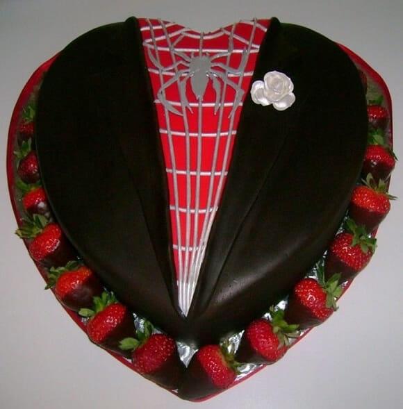 Bolo de casamento com o tema The Amazing Spider-Man