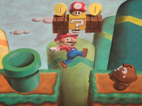 Pinturas incríveis do Super Mario feitas no chão com giz pastel