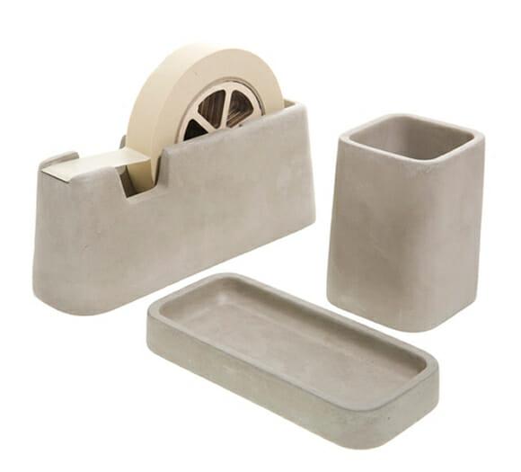 Porta-canetas, porta-clips e suporte para fita adesiva feitos de concreto