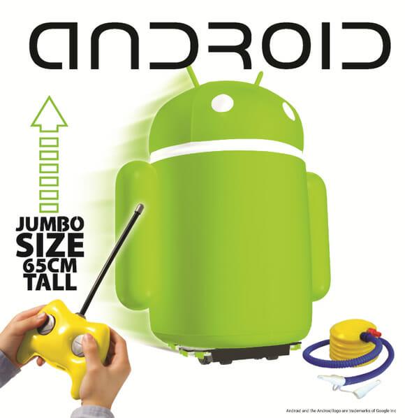 Android inflável de controle remoto é perfeito para batalhas de Androids!
