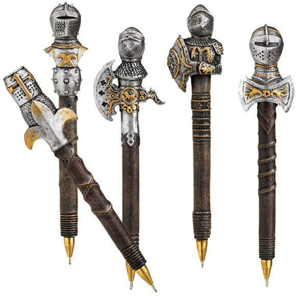 Kit de canetas inspiradas em armaduras e armas medievais