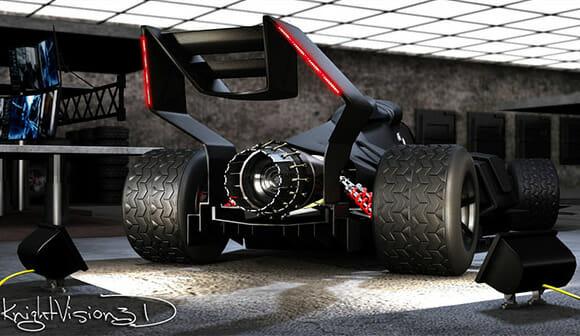 Batmóvel Tumbler transformado em carro de fórmula 1. Santa maravilha Batman!