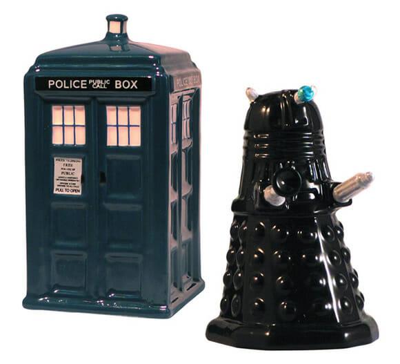 Saleiro e pimenteiro TARDIS e Dalek para fãs de Doctor Who