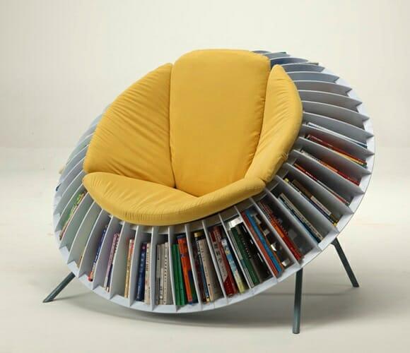Sunflower Chair - Uma criativa poltrona para ler livros com estante de livros integrada
