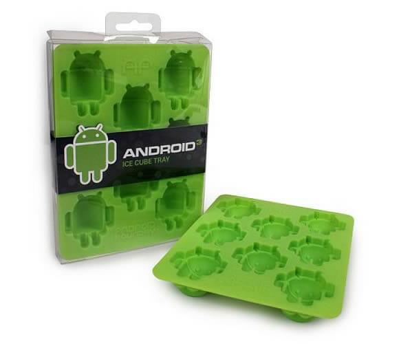 Fôrmas de gelo do mascote Android para fãs do sistema
