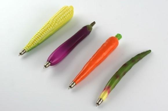 Canetas divertidas imitam legumes