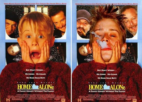 Pôsteres de filmes e séries de antigamente com imagens mais recentes dos mesmos atores