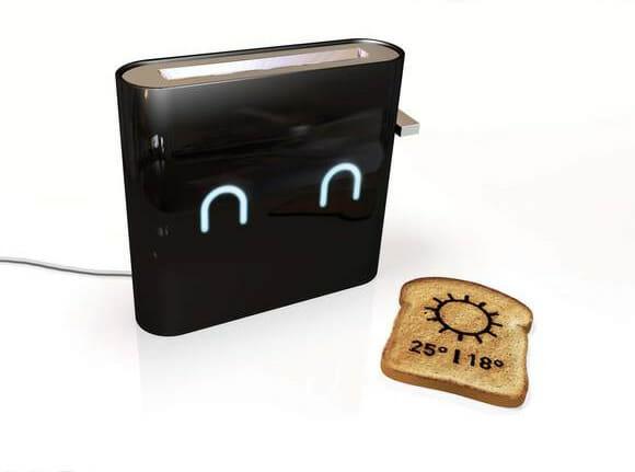 Torradeira impressora imprime a previsão do tempo no pão do café da manhã