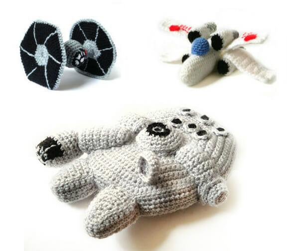 Veículos e naves de Star Wars feitos de crochê